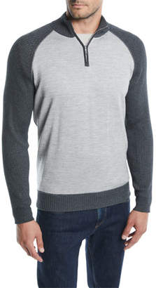 Loro Piana Men's Cashmere-Cotton Quarter-Zip Sweater