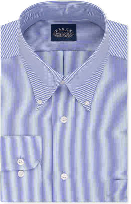 Eagle Men Classic-Fit Stretch Collar Non-Iron Blue Stripe Dress Shirt