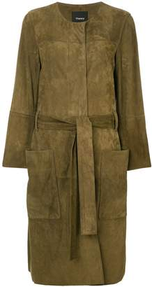 Theory belted large pocketed coat