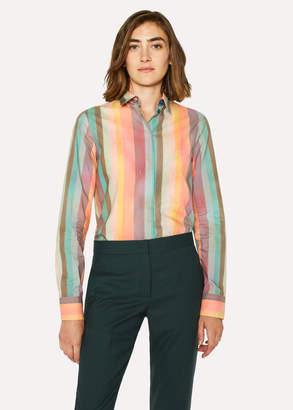 Paul Smith Women's 'Artist Stripe' Print Shirt With Glittered Cuff Linings