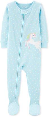 Carter's Carter Toddler Girls 1-Pc. Heart-Print Pegasus Footed Pajamas