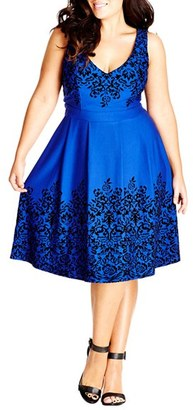 Plus Size Women's City Chic Border Flocked Fit & Flare Dress $89 thestylecure.com