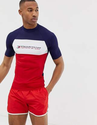 Tommy Sport colour block short sleeved rashguard with chest logo in navy/red/white