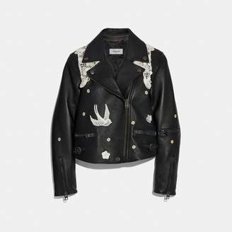 Coach Lace Embroidered Leather Jacket