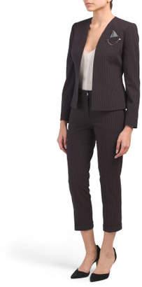 Petite 2pc Pinstripe Suit Set