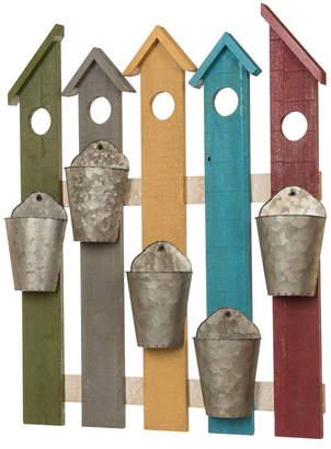 Glitzhome Multi Colored Wooden Metal Fence Planters