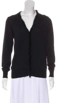 Noir Kei Ninomiya Fur Trimmed Long Sleeve Cardigan
