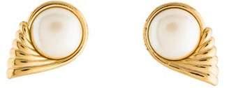 Saint Laurent Faux Pearl Wing Earrings