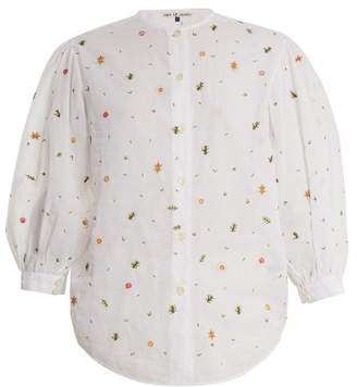 Jupe By Jackie - Agrigan Floral Embroidered Cotton Blouse - Womens - White Multi