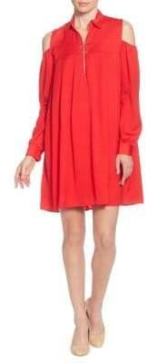 Catherine Malandrino Massima Cold-Shoulder Collar Dress