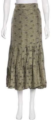 Les Prairies de Paris Floral Print Midi Skirt