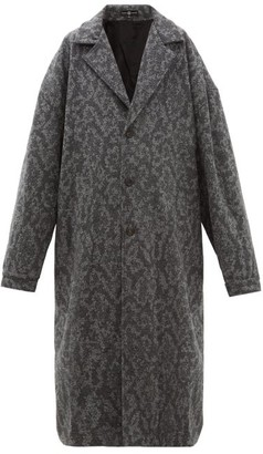 Edward Crutchley Patterned Mohair Coat - Womens - Grey