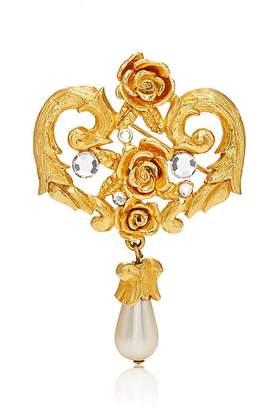 Loren Stazia Women's White Crystal & Imitation-Pearl Brooch