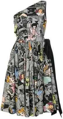 Prada asymmetric comic print dress