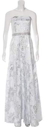 Carmen Marc Valvo Brocade Strapless Gown w/ Tags