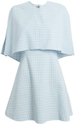 Sara Battaglia Blue Check Cape Mini Dress