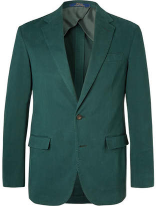 Polo Ralph Lauren Dark-Green Slim-Fit Unstructured Cotton-Blend Twill Blazer