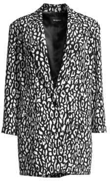 The Kooples Women's Animal Printed Blazer - Black/White - Size 1 (S)