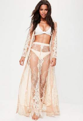 Missguided Premium Nude Eyelash Lace Maxi Kimono