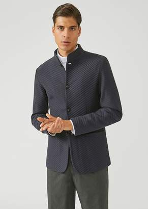 Emporio Armani Cotton Fleece Jacket With Bi-Directional Diagonal Pattern And High Collar