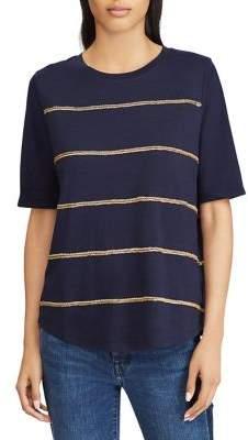 Lauren Ralph Lauren Petite Striped Jersey Elbow-Sleeve Top
