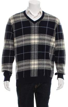 Burberry Wool Check V-Neck Sweater