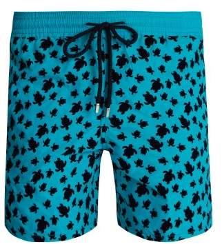 Vilebrequin - Moorea Flocked Turtle Swim Shorts - Mens - Light Blue