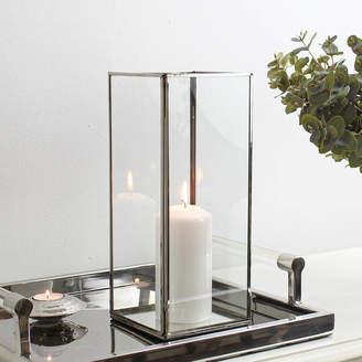 Marquis & Dawe Rectangle Silver Plated Glass Candle Holder
