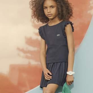 Lacoste Girls' Striped Belt Pleated Jersey Skirt