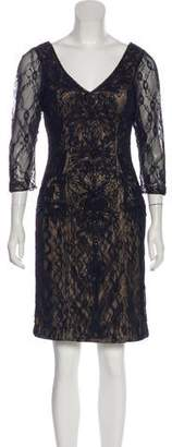 Sue Wong Embellished Lace Mini Dress