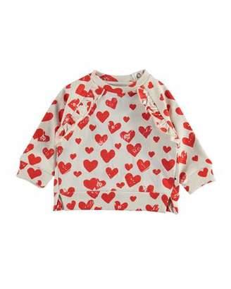 Molo Dayna Heart Print Ruffle Trim Raglan Sweatshirt, Size 3-24 Months