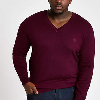 River Island Big and Tall slim fit burgundy v neck sweater