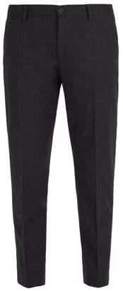 Dolce & Gabbana Slim Leg Wool Blend Trousers - Mens - Navy