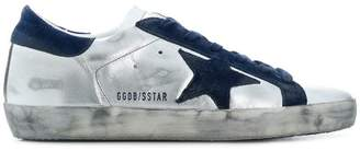 Golden Goose metallic silver and blue superstar leather sneakers