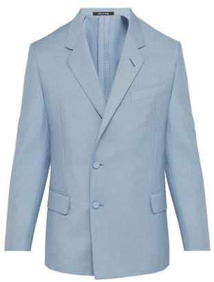 Dunhill Kensington Double Breasted Mohair Blend Jacket - Mens - Light Blue
