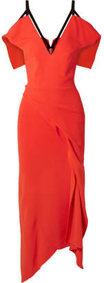 Roland Mouret Cold-shoulder Asymmetric Stretch-crepe Midi Dress - Bright orange