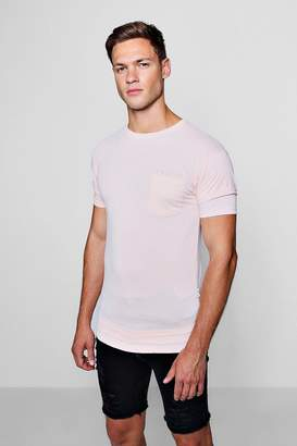 boohoo Slogan Pocket T-Shirt With Curve Hem