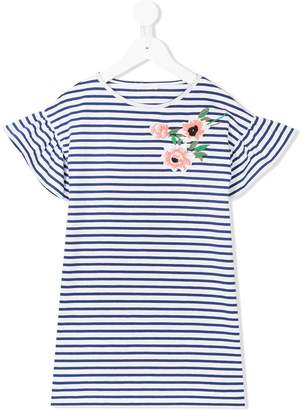 Liu Jo Kids floral-embroidered striped dress
