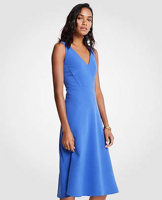 Ann Taylor V-Neck Midi Flare Dress