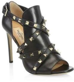 Valentino Stud Wrapped Leather Ankle Boots