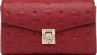 MCM Millie Flap Crossbody Visetos Medium Ruby Tan