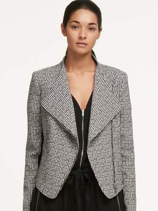 DKNY Check Jaquard Zip-Front Jacket