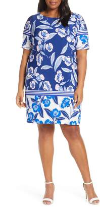 Eliza J Print Elbow Sleeve Shift Dress