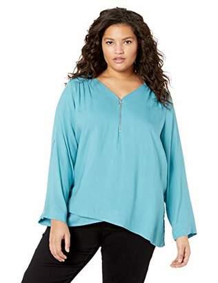 Karen Kane Women's Plus Size Zip-UP Asymmetric Hem TOP