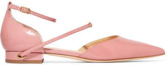 Jennifer Chamandi Enrico Patent-leather Point-toe Flats