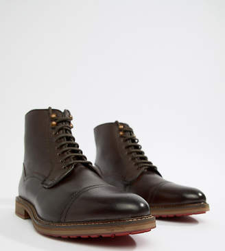 Scotch Grain Asos Design ASOS DESIGN lace up boots in brown leather with textured scotchgrain panel