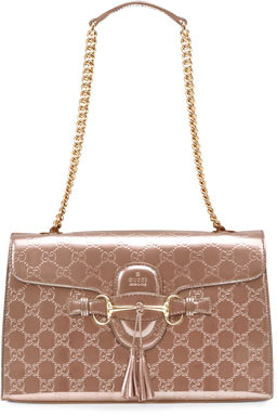 Gucci Emily Shine Guccissima Leather Chain Shoulder Bag, Beige