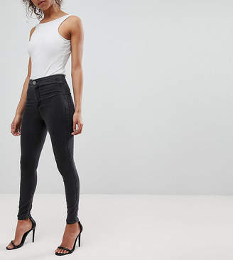 Asos DESIGN Petite Rivington high waist denim jeggings in washed black