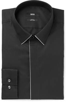 HUGO BOSS Black Ivan Slim-Fit Piped Cotton-Poplin Shirt