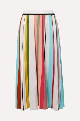 Missoni Striped Ribbed Crocheted Cotton Midi Skirt - Pink